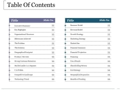 Table Of Contents Ppt PowerPoint Presentation Layouts Icons