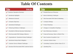 Table Of Contents Ppt PowerPoint Presentation Model Professional