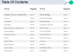 Table Of Contents Ppt PowerPoint Presentation Model Slideshow