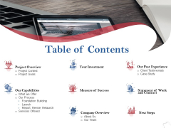Table Of Contents Ppt PowerPoint Presentation Pictures Design Inspiration