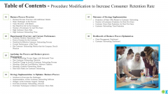 Table Of Contents Procedure Modification To Increase Consumer Retention Rate Ppt Model Templates PDF
