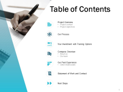 Table Of Contents Process Ppt Powerpoint Presentation Gallery Layout Ideas