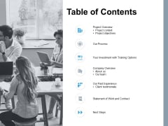Table Of Contents Process Ppt PowerPoint Presentation Summary Outfit