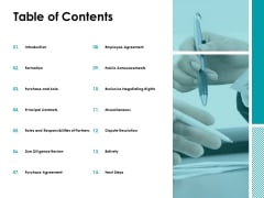 Table Of Contents Responsibilities Ppt Powerpoint Presentation Infographic Template Graphics