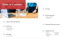Table Of Contents Software Development Proposal Ppt Infographics Information PDF