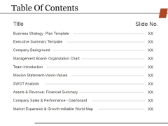 Table Of Contents Template 2 Ppt PowerPoint Presentation Icon Guidelines