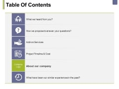 Table Of Contents Template 5 Ppt PowerPoint Presentation Portfolio Summary