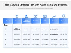 Table Showing Strategic Plan With Action Items And Progress Ppt PowerPoint Presentation Gallery Deck PDF