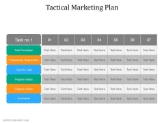 Tactical Marketing Plan Ppt PowerPoint Presentation Gallery Templates