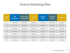 Tactical Marketing Plan Ppt PowerPoint Presentation Infographic Template