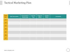 Tactical Marketing Plan Ppt PowerPoint Presentation Show