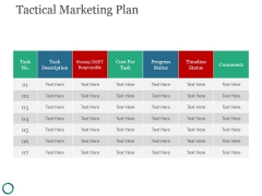 Tactical Marketing Plan Ppt PowerPoint Presentation Templates