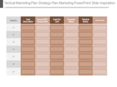 Tactical Marketing Plan Strategy Plan Marketing Powerpoint Slide Inspiration