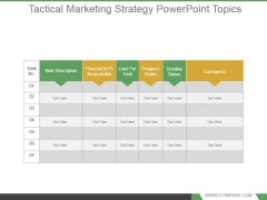 Tactical Marketing Strategy Powerpoint Topics