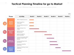 Tactical Planning Timeline For Go To Market Ppt PowerPoint Presentation Infographics Files PDF