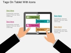Tags On Tablet With Icons Powerpoint Templates