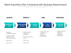 Talent Acquisition Plan Framework With Business Requirements Ppt PowerPoint Presentation Gallery Templates PDF