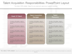 Talent Acquisition Responsibilities Powerpoint Layout