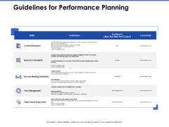 Talent Management Systems Guidelines For Performance Planning Ppt Inspiration Vector PDF