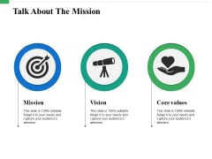 Talk About The Mission Ppt PowerPoint Presentation Outline Grid