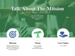 Talk About The Mission Ppt PowerPoint Presentation Portfolio Vector