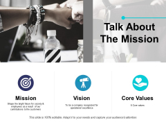 Talk About The Mission Ppt PowerPoint Presentation Portfolio Visual Aids