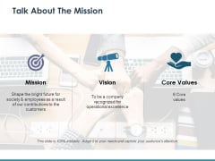 Talk About The Mission Ppt PowerPoint Presentation Tips