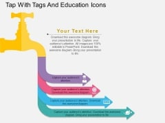 Tap With Tags And Education Icons Powerpoint Template