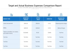 Target And Actual Business Expenses Comparison Report Ppt PowerPoint Presentation File Picture PDF