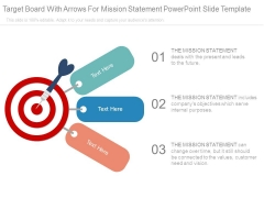 Target Board With Arrows For Mission Statement Powerpoint Slide Template