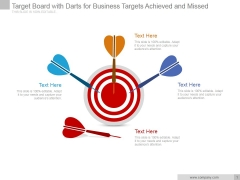 Target Board With Darts For Business Targets Achieved And Missed Ppt PowerPoint Presentation Visuals
