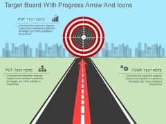 Target Board With Progress Arrow And Icons Powerpoint Template