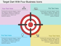 Target Dart With Four Business Icons Powerpoint Template