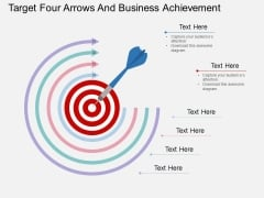 Target Four Arrows And Business Achievement Powerpoint Template