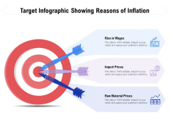 Target Infographic Showing Reasons Of Inflation Ppt PowerPoint Presentation Layouts Graphics Tutorials PDF