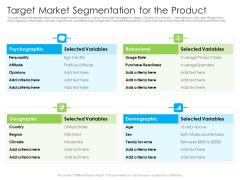 Target Market Segmentation For The Product Ppt Slides Influencers PDF