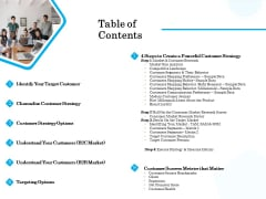 Target Market Segmentation Table Of Contents Ppt PowerPoint Presentation Summary Graphics Download PDF