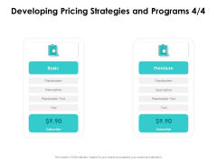 Target Market Strategy Developing Pricing Strategies And Programs Premium Ppt Outline Show PDF