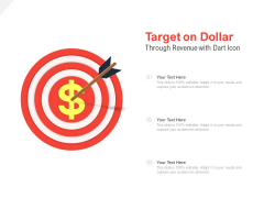 Target On Dollar Revenue With Dart Icon Ppt PowerPoint Presentation Ideas Picture