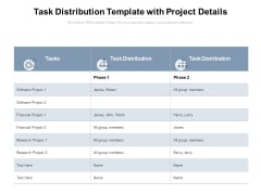 Task Distribution Template With Project Details Ppt PowerPoint Presentation Model Clipart