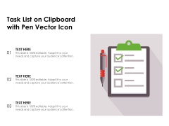 Task List On Clipboard With Pen Vector Icon Ppt PowerPoint Presentation Model Mockup PDF