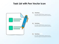 Task List With Pen Vector Icon Ppt Outline Layout PDF