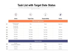 Task List With Target Date Status Ppt PowerPoint Presentation Professional File Formats