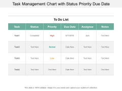 Task Management Chart With Status Priority Due Date Ppt PowerPoint Presentation Slides Format Ideas Cpb