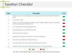 Taxation Checklist Ppt PowerPoint Presentation File Topics