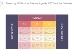 Taxonomy Of Services Process Agenda Ppt Samples Download