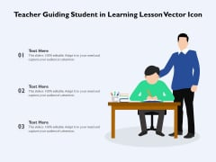 Teacher Guiding Student In Learning Lesson Vector Icon Ppt PowerPoint Presentation File Graphics Pictures PDF
