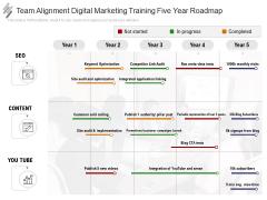 Team Alignment Digital Marketing Training Five Year Roadmap Infographics