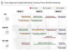 Team Alignment Digital Marketing Training Three Months Roadmap Elements