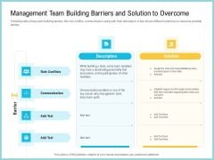 Team Collaboration Of Project Management Team Building Barriers And Solution To Overcome Template PDF